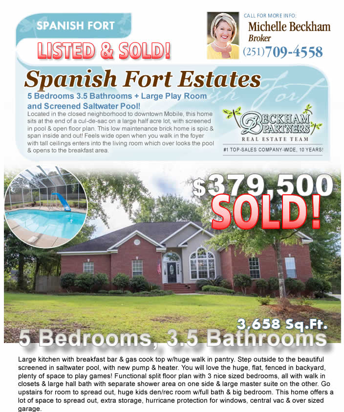 Spanish Fort Estates - Spanish Fort AL Homes for Sale, marketed by Beckham Partners Team, Bellator