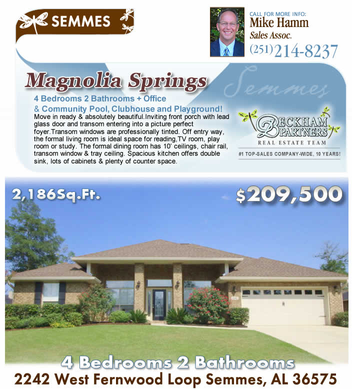 West Mobile area, off Schillinger Rd., Magnolia Springs, Semmes AL 4BR home for sale by Beckham Partners, Bellator